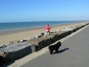 La plage de St Martin de Bréhal près de Granville, en Normandie