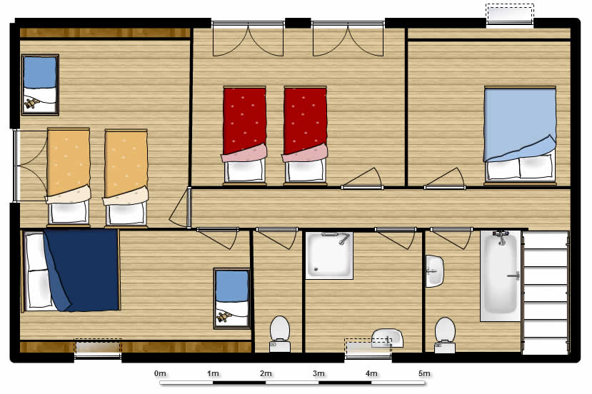 Floor plan of 6-bed beach house in Normandy France